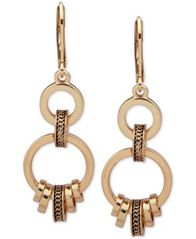 Image of Anne Klein Gold-Tone Textured Ring Double Drop Earrings