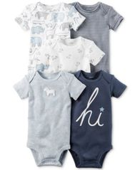 Image of Carter's 5-Pk. Dog Bodysuits, Baby Boys