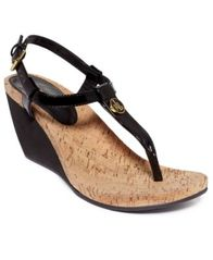 Image of Lauren Ralph Lauren Reeta T-Strap Thong Wedge Sandals