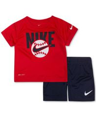 Image of Nike Baby Boys 2-Pc. Baseball Graphic T-Shirt & Shorts Set