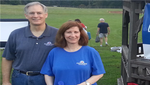 Wes & Linda Kindelberger greet families at Delmont Rec Summer Movies in the Park