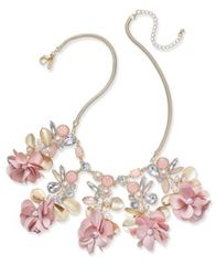 "Image of I.N.C. Gold-Tone Flower, Stone & Crystal Statement Necklace, 15"" + 3"" extender, Created for Macy's"