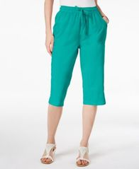 Image of Karen Scott Petite Cotton Drawstring Capri Pants, Created for Macy's