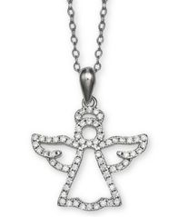 "Image of Giani Bernini Cubic Zironia Angel 18"" Pendant Necklace in Sterling Silver, Created for Macy's"