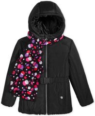 Image of S. Rothschild Belted Puffer Jacket with Dot-Print Scarf, Big Girls
