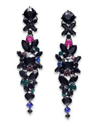 Image of I.N.C. Floral Crystal Linear Earrings, Created for Macy's