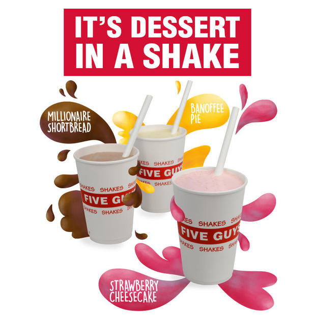 Five Guys Dessert Shakes, available for a limited time only.
