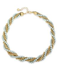 "Image of Charter Club Gold-Tone & Imitation Pearl Twisted Multi-Strand Necklace, 17"" + 2"" extender, Created f"