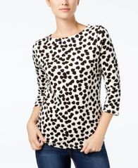 Image of Charter Club Button-Shoulder Print Top, Created for Macy's