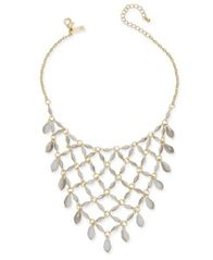 Image of I.N.C. Gold-Tone White Beaded Net Statement Necklace, Created for Macy's