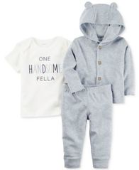 Image of Carter's 3-Pc. Handsome Fella T-Shirt, Hoodie & Pants Set, Baby Boys