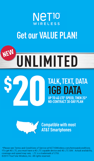 $20 Talk, text, data 1 GB Data, up to 4G LTE Speed, Then 2G, No-contract 30-day plan with NET10 Wireless