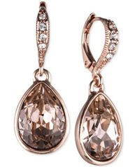 Image of Givenchy Rose Gold-Tone Crystal Drop Earrings