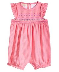 Image of First Impressions Baby Girls Striped Flutter-Sleeve Cotton Romper, Created for Macy's
