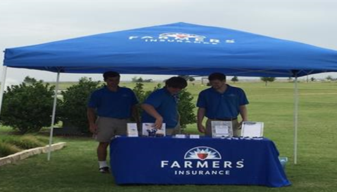 Jeff Clarke Farmers® Insurance Agency tent at Hot Dogs & Hot Rods.
