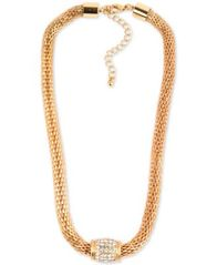 "Image of Charter Club Gold-Tone Pavé Collar Necklace, 18-1/2"" + 3"" extender, Created for Macy's"