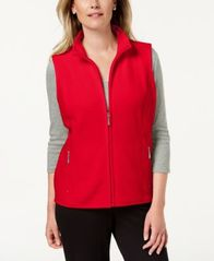 Image of Karen Scott Petite Zeroproof Zipper Vest, Created for Macy's