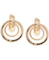 Image of Anne Klein Gold-Tone Orbital E-Z Comfort Clip-On Drop Earrings