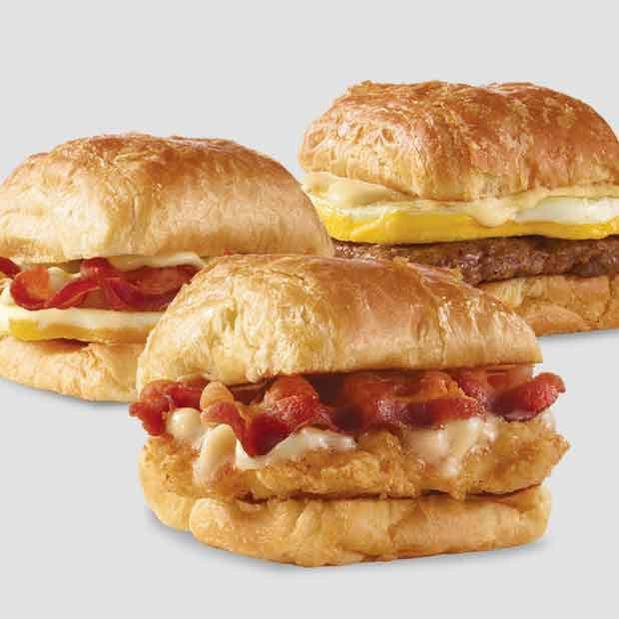 Wendy's Maple Bacon Chicken Croissant, Bacon Egg & Swiss Croissant or Sausage Egg & Swiss Croissant