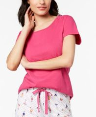Image of Charter Club Cotton Short-Sleeve Soft Knit Pajama Top, Created for Macy's