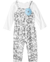 Image of First Impressions 2-Pc. Bow T-Shirt & Floral-Print Overall Set, Baby Girls, Created for Macy's
