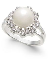 Image of Charter Club Silver-Tone Crystal & Imitation Pearl Halo Ring, Created for Macy's