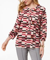 Image of JM Collection Printed Pleated-Back Blouse, Created for Macy's