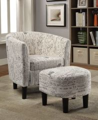 Image of Accent Chair + Ottoman, Beige/Black