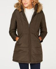Image of Maralyn & Me Juniors' Faux-Fur-Trim Hooded Puffer Coat