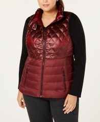 Image of Calvin Klein Performance Plus Size Quilted Metallic Down Vest