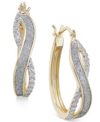 Image of Diamond Glitter Infinity Hoop Earrings (1/6 ct. t.w.) in 18k Gold-Plated Sterling Silver