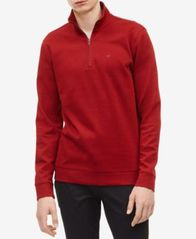 Image of Calvin Klein Men's Classic Cotton Quarter-Zip Pullover Sweater