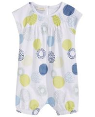 Image of First Impressions Baby Girls Geometric Dot-Print Cotton Romper, Created for Macy's