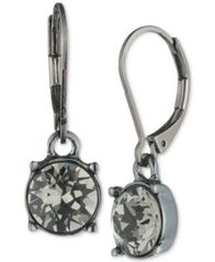 Image of Anne Klein Hematite-Tone Black Crystal Drop Earrings