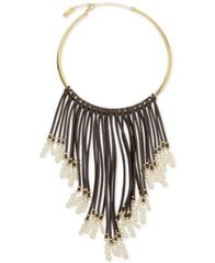 Image of INC International Concepts Gold-Tone Imitation Pearl and Faux Suede Fringe Necklace, Created for Mac