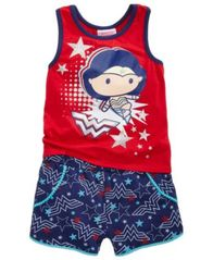 Image of DC Comics® Wonder Woman 2-Pc. Tank Top & Shorts Set, Little Girls
