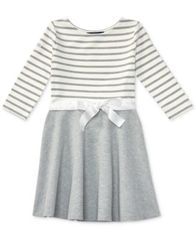 Image of Ralph Lauren Striped Fit & Flare Dress, Big Girls (7-16)