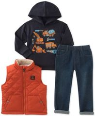 Image of Kids Headquarters 3-Pc. Vest, Graphic Hoodie & Jeans Set, Baby Boys (0-24 months)
