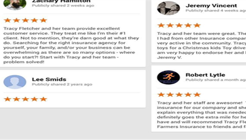 A few of our Google Reviews.