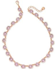 Image of Charter Club Rose Gold-Tone Pavé & Pink Stone Collar Necklace, Created for Macy's