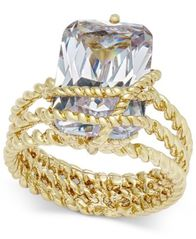 Image of Charter Club Gold-Tone Cubic Zirconia Wrap Ring, Created for Macy's