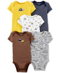 Image of Carter's Baby Boys 5-Pc Graphic Cotton Bodysuits