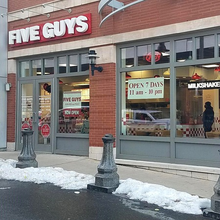Store front of Five Guys at 701 Frank E. Rodgers Boulevard South in Harrison, NJ.