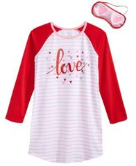 Image of Max & Olivia 2-Pc. Love Sleep Shirt & Sleep Mask Set, Big Girls, Created for Macy's
