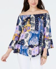 Image of Style & Co Off-The-Shoulder Floral-Print Top, Created for Macy's