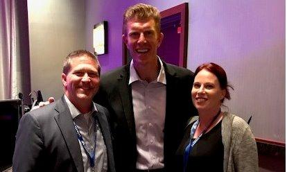 Bob and Rachel with Matt Birk at the 2017 Farmers® Territory Conference