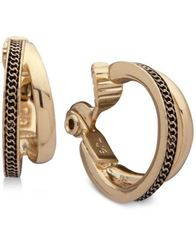 Image of Anne Klein Gold-Tone Textured Double-Row Clip-On Mini Hoop Earrings
