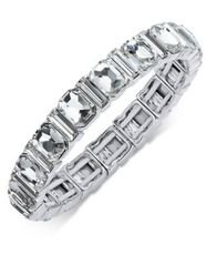 Image of Charter Club Silver-Tone Crystal Stretch Bracelet, Created for Macy's