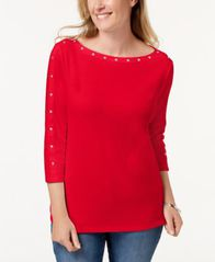 Image of Karen Scott Cotton Studded Top, Created for Macy's