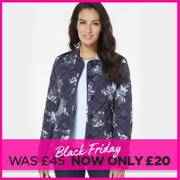Image of Printed Button Front Quilted Jacket